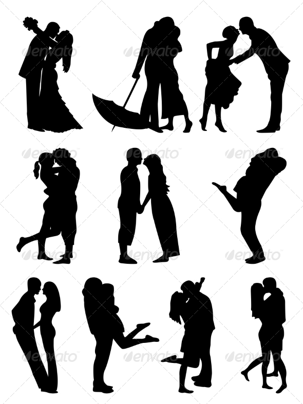 GraphicRiver Romantic Couples Silhouettes 7063172