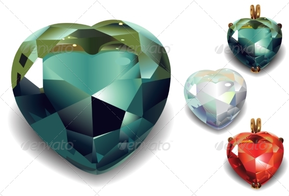 GraphicRiver Set of Shiny Valentines Diamond Hearts 7063294