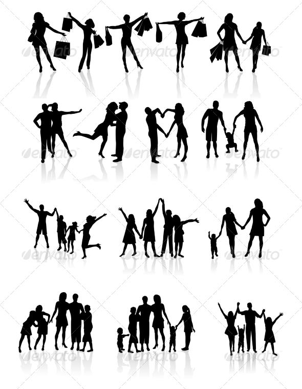 GraphicRiver Family Silhouettes 7063299