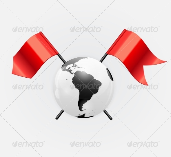 GraphicRiver Earth Icon with Red Flags 7064947