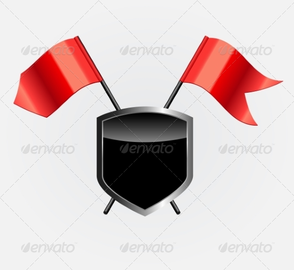 GraphicRiver Protective Shield with Red Flags 7064948