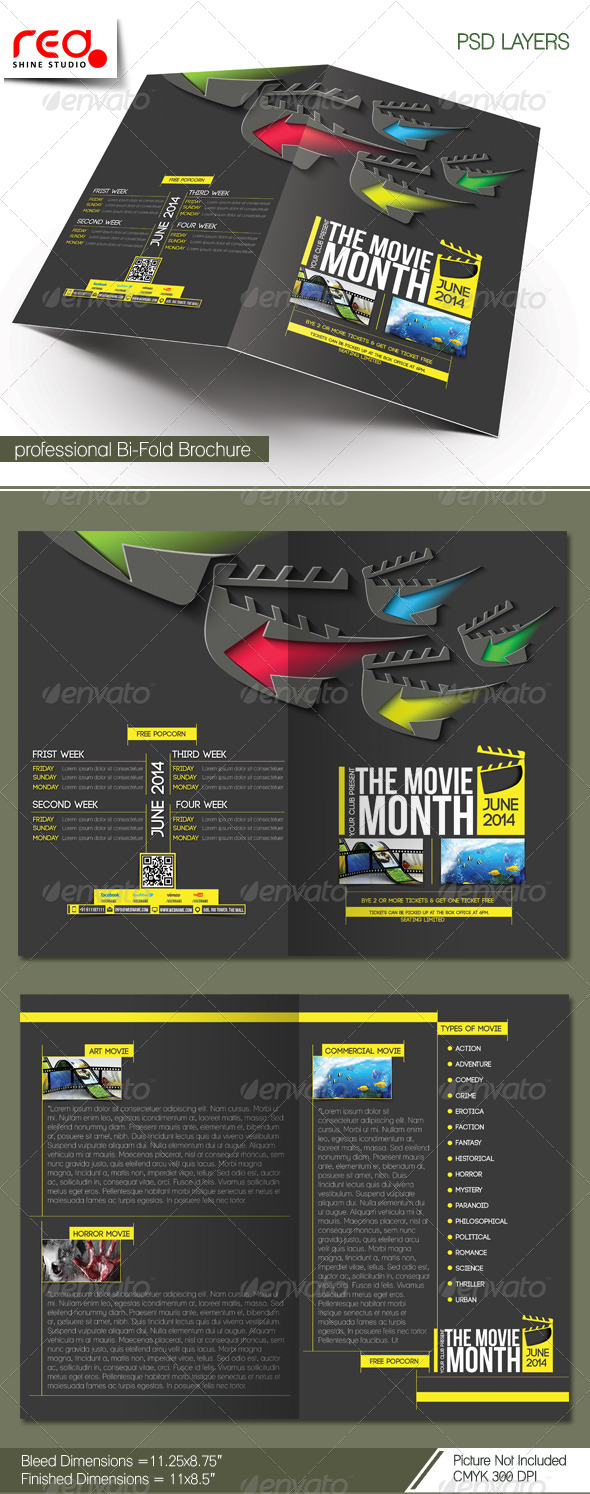 GraphicRiver The Movie Month Bi-fold Brochure Template 7065102