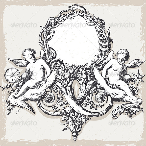 GraphicRiver Vintage Floral Frame with Angels 7066697