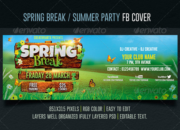 GraphicRiver Spring Break Summer Party Facebook Cover 7066796