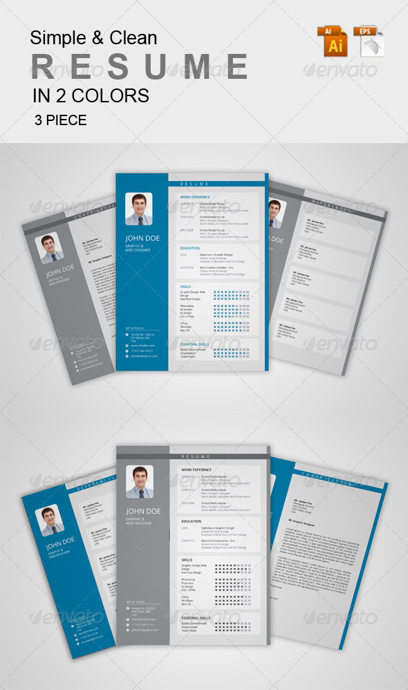 GraphicRiver Simple & Clean Resume 1 7067213