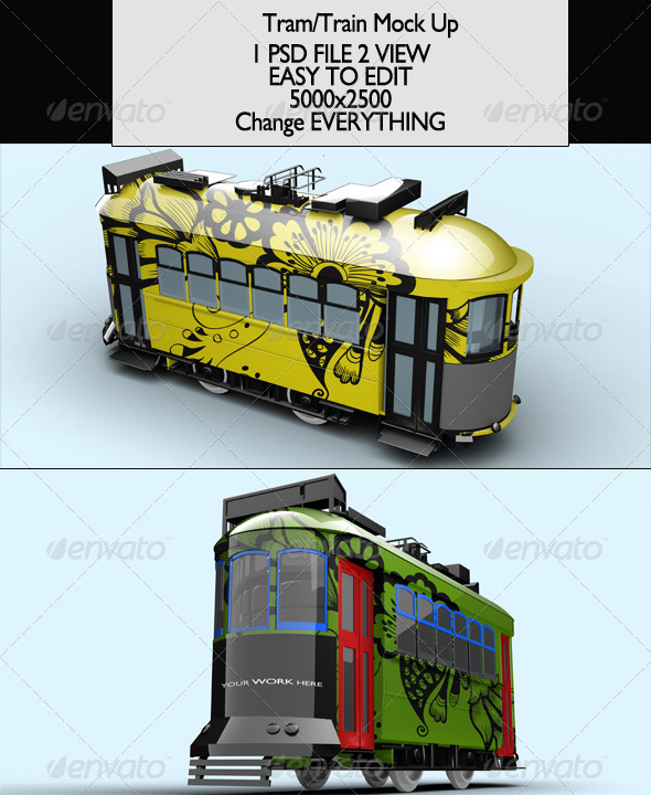 GraphicRiver Tram Train Vol2 Mock-Up 7048236
