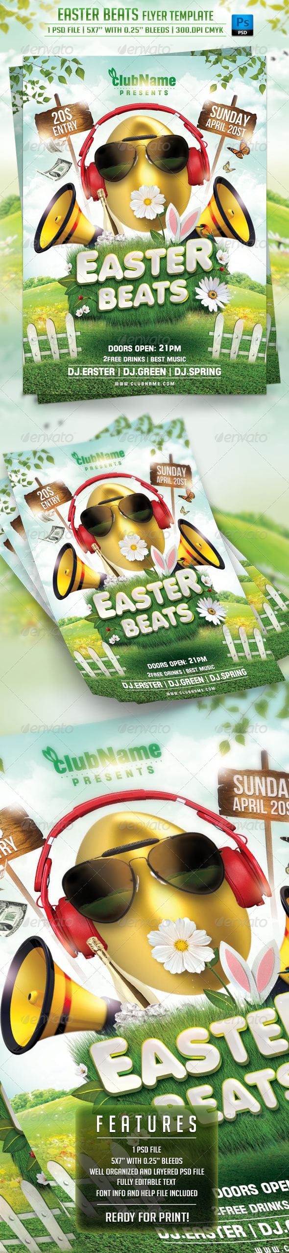 GraphicRiver Easter Beats Flyer Template 7067603