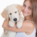 girl holding pet labrador puppy - PhotoDune Item for Sale