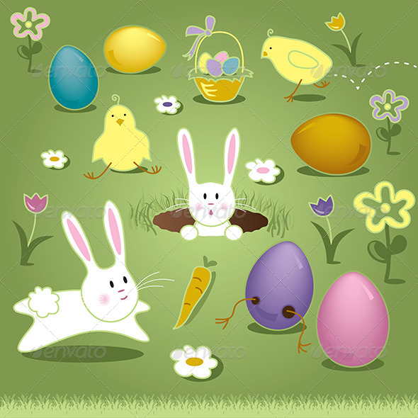 GraphicRiver Vector Art Elements Easter Bunny Chicks Eggs Basket 7068789