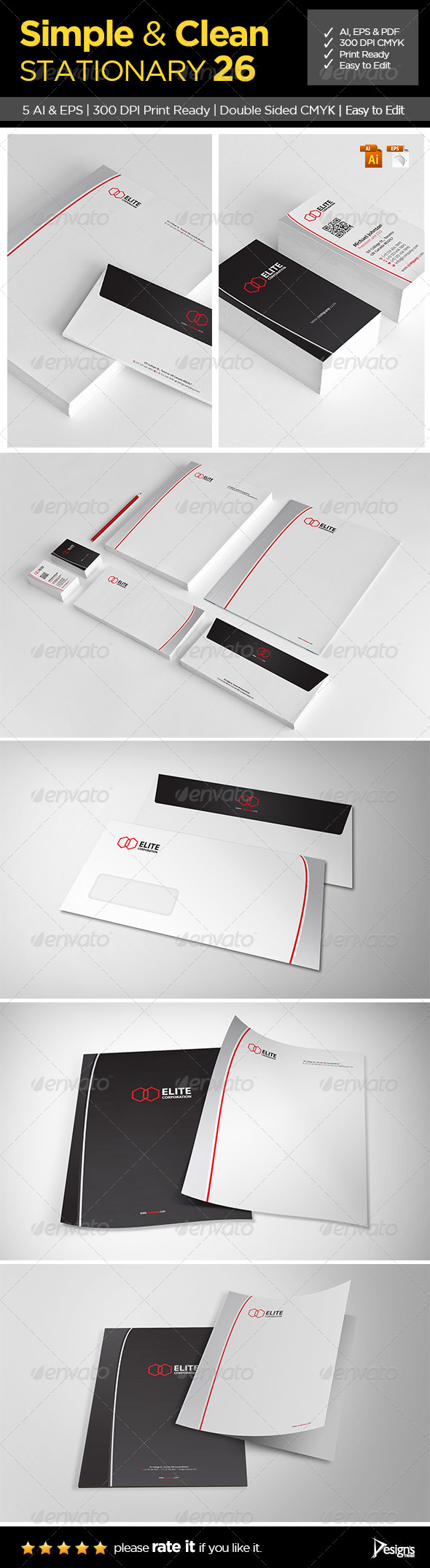 GraphicRiver Simple and Clean Stationary 26 7068801