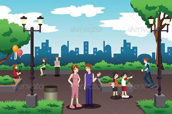 GraphicRiver People in a City Park Doing Everyday Stuff 7068823