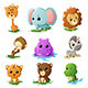 Cartoon Wildlife Animal Icons - GraphicRiver Item for Sale