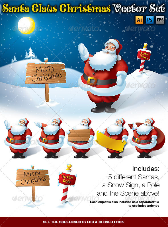 Santa Claus Christmas Vector Set - Christmas Seasons/Holidays