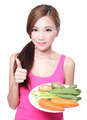 woman holding green vegetables and carrots - PhotoDune Item for Sale