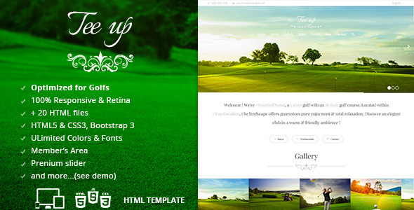 Tee Up - Golf HTML5 Template