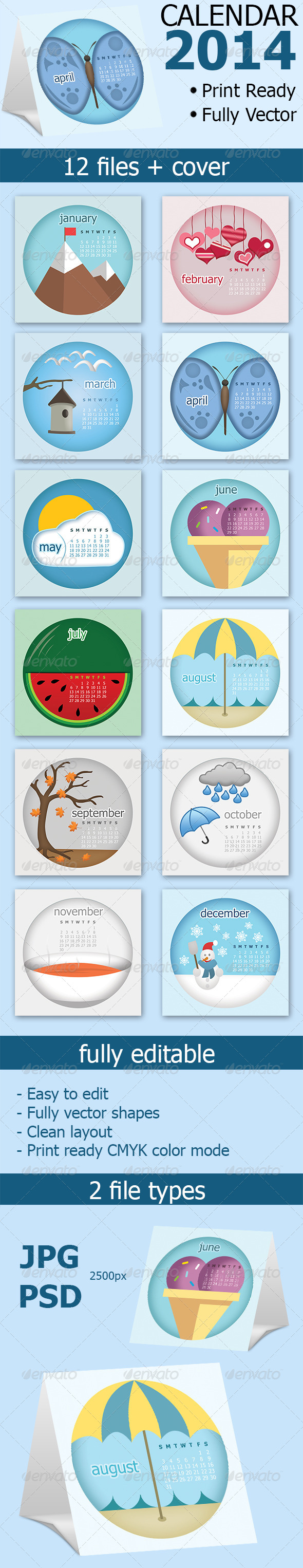 GraphicRiver Desk Calendar 2014 7058264