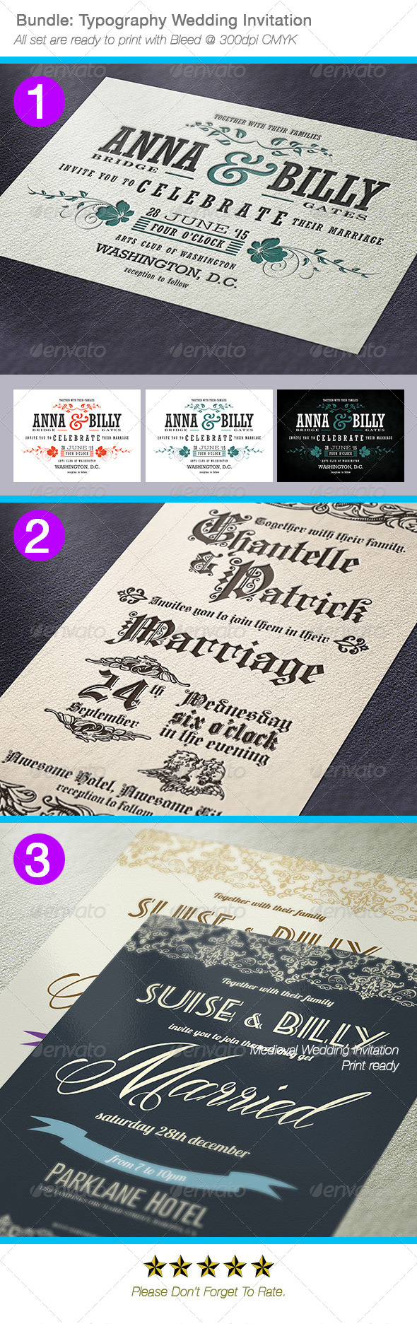 GraphicRiver Bundle Typography Wedding Invitations 7080578