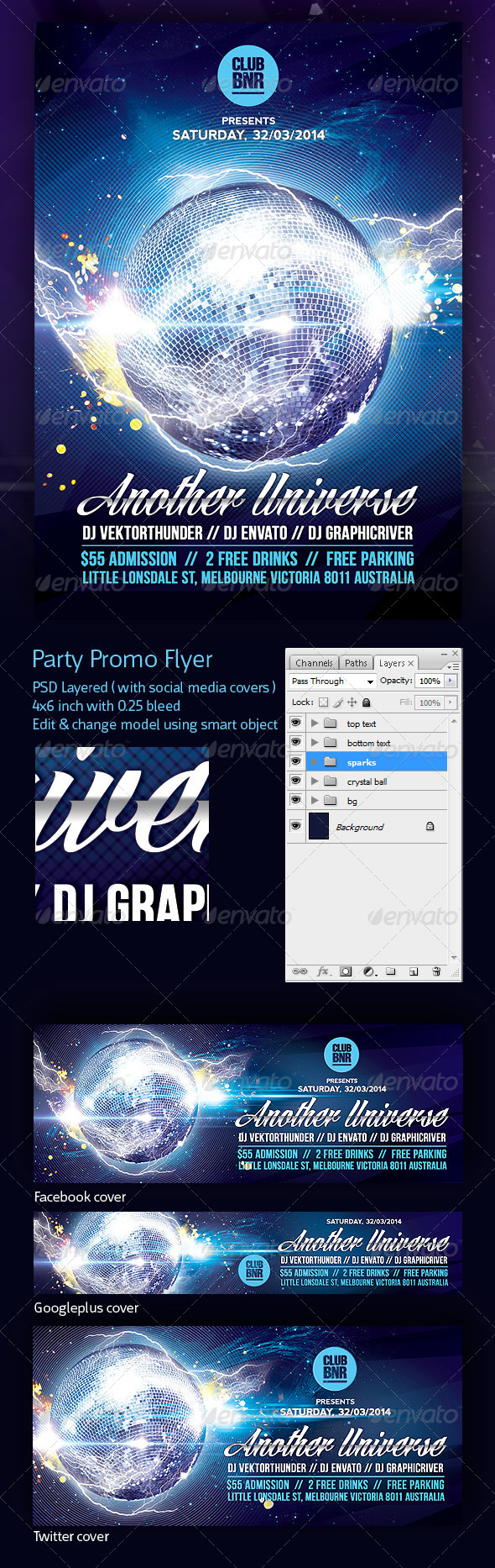 GraphicRiver Party Promo Flyer Another Universe 7080805