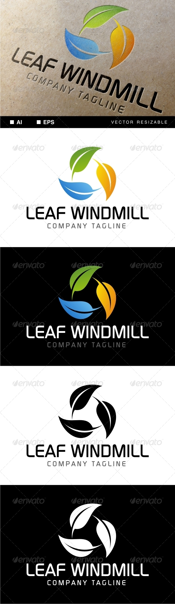 GraphicRiver Leaf Windmill Logo 7081664