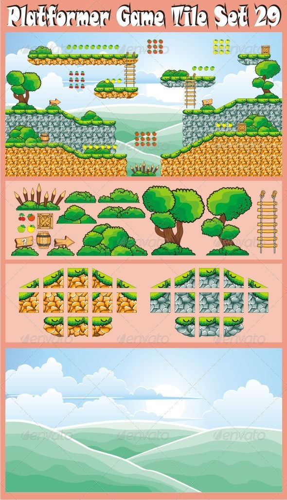 GraphicRiver Platformer Game Tile Set 29 7082010