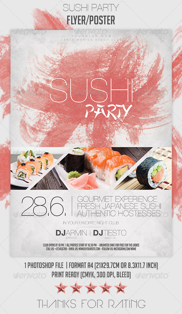 GraphicRiver Sushi Party Flyer Poster 7082748
