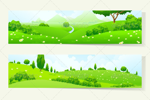 GraphicRiver Two Horizontal Banners with Nature Landscape 7086443