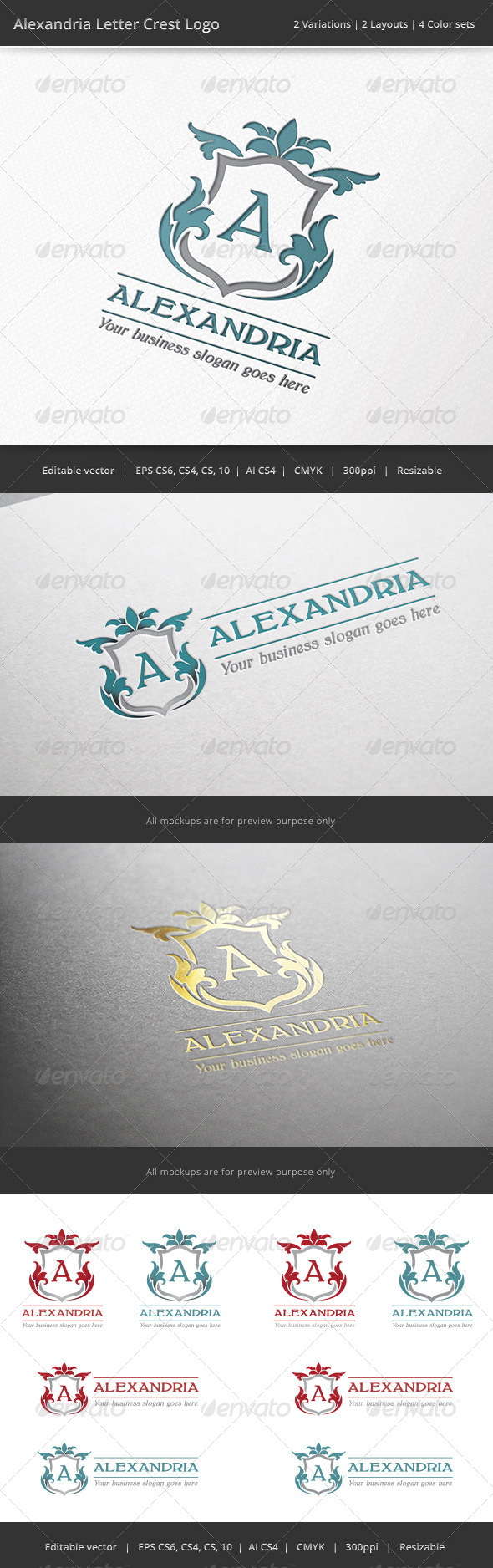 GraphicRiver Alexandria Letter Crest Logo 7087080
