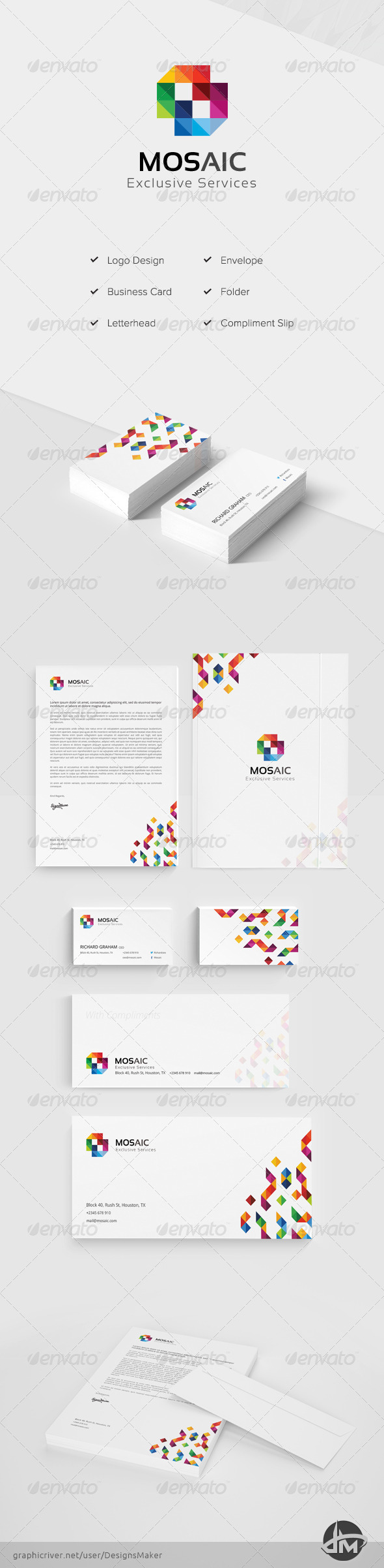GraphicRiver Mosaic Stationery Pack 7046574
