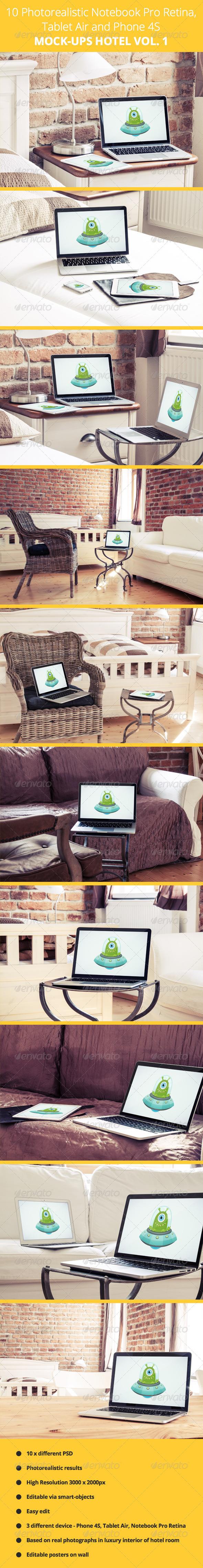 GraphicRiver 10 Photorealistic Device Mock-Ups in Hotel Vol.1 7091028