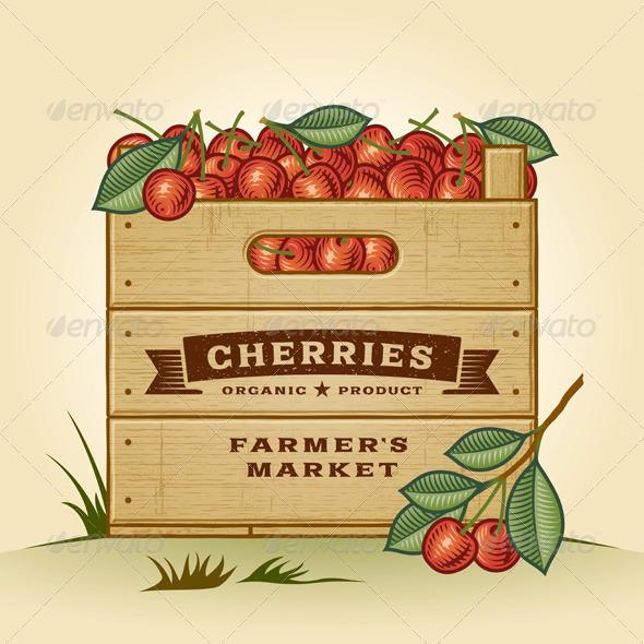 GraphicRiver Retro Crate Of Cherries 7094674
