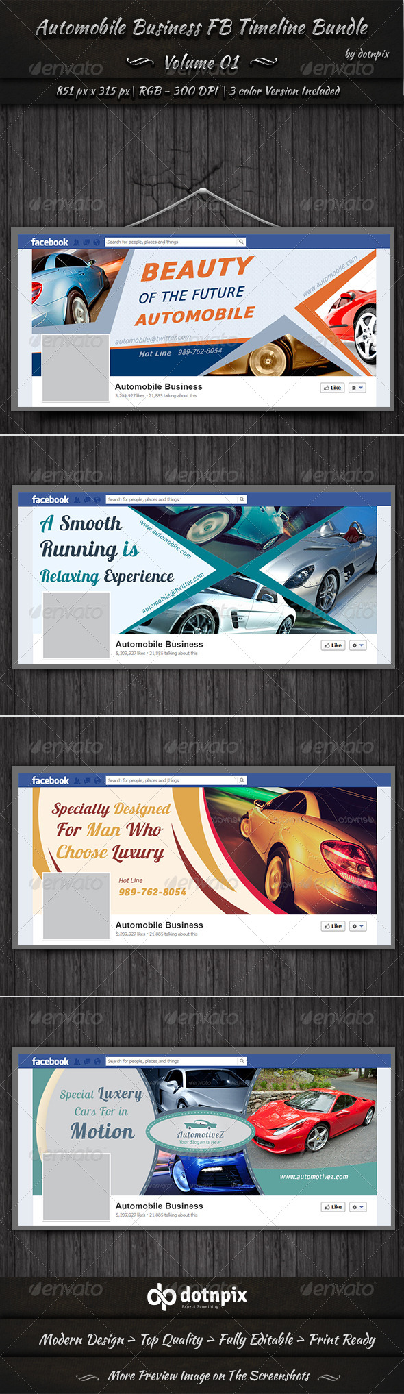 GraphicRiver Automobile Business FB Timeline Bundle Volume 1 7095245