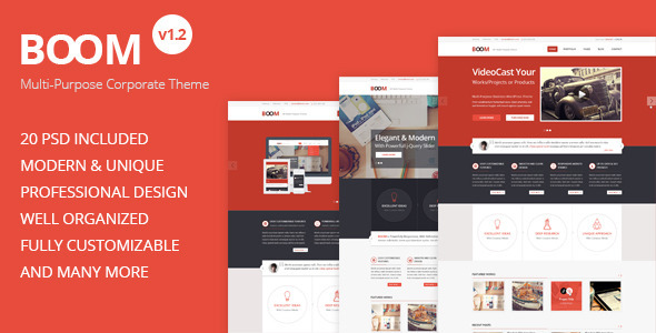 BOOM - Multi-Purpose Corporate PSD Theme - Corporate PSD Templates