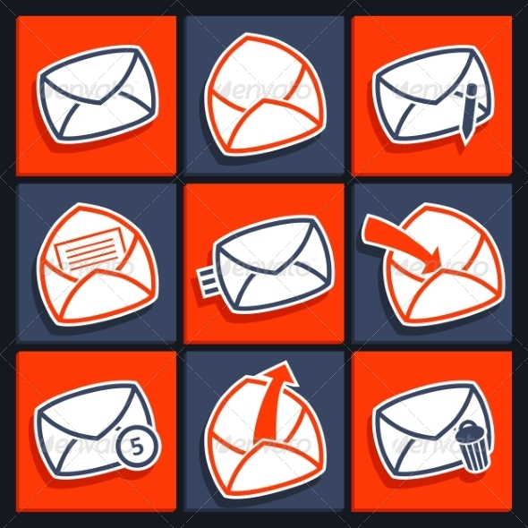 GraphicRiver Set of Icons for App Envelopes and Message 7097973