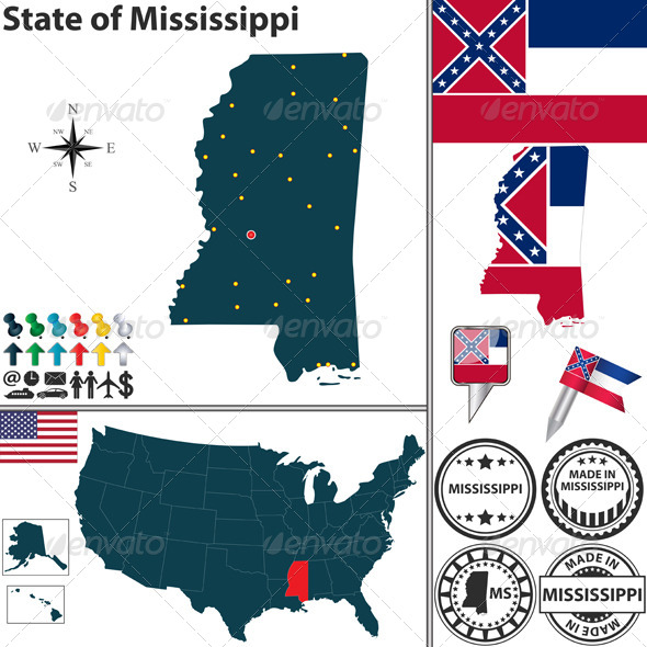 GraphicRiver Map of State Mississippi USA 7098265