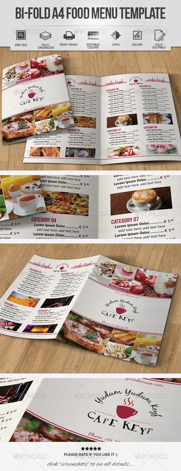 GraphicRiver Bi-Fold A4 Food Menu Template 7098727