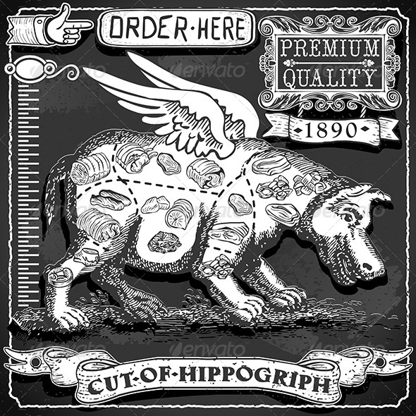 GraphicRiver Vintage Blackboard of Cut of Hippogriph 7101020