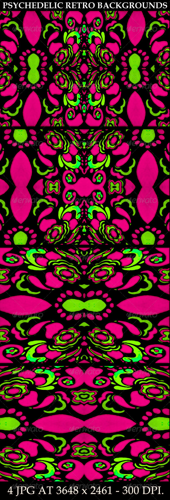 GraphicRiver 4 Psychedelic Retro Ornament Backgrounds 7101804
