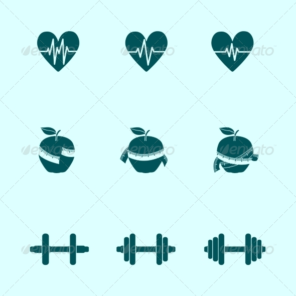GraphicRiver Fitness Exercises Progress Icons Set 7102044
