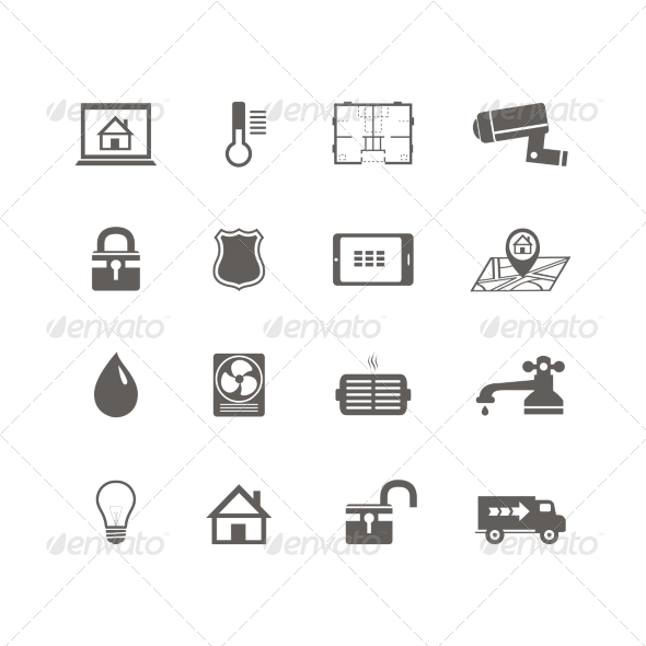 GraphicRiver Smart Home Automation Technology Icons Set 7102993