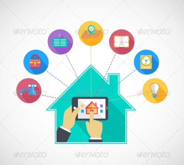 GraphicRiver Hand Holding Mobile Phone Controls Smart Home 7103030