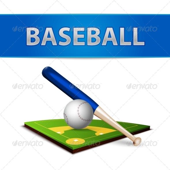 GraphicRiver Baseball Ball Bat and Green Field Emblem 7103084