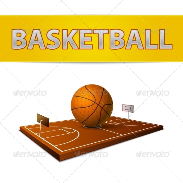 GraphicRiver Basketball Ball and Field with Rings Emblem 7103106