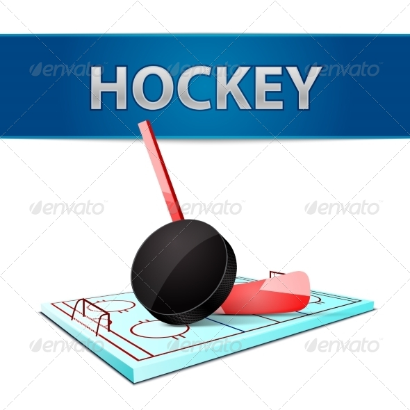 GraphicRiver Hockey Stick Puck and Ice Arena Emblem 7103112