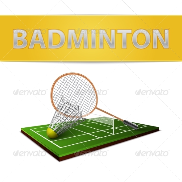 GraphicRiver Badminton shuttlecock and racket emblem 7103121