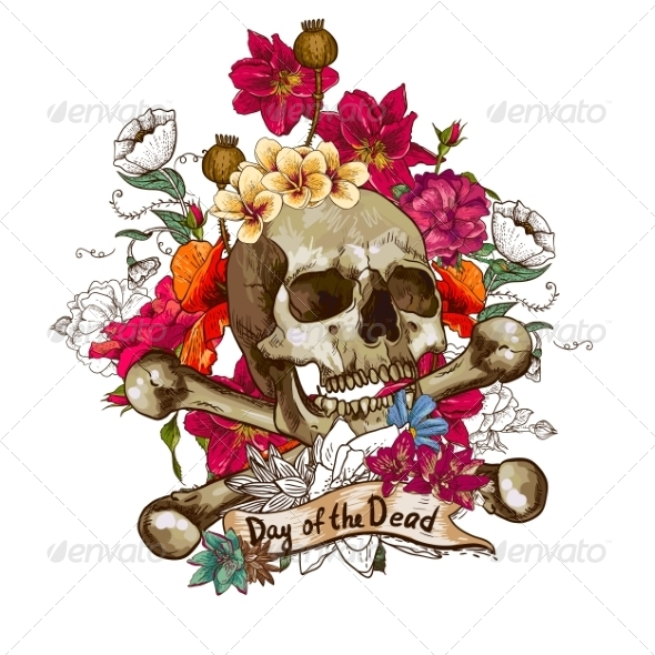 GraphicRiver Skull and Flowers Vector Illustration 7103171