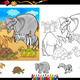 safari animals coloring page set - PhotoDune Item for Sale