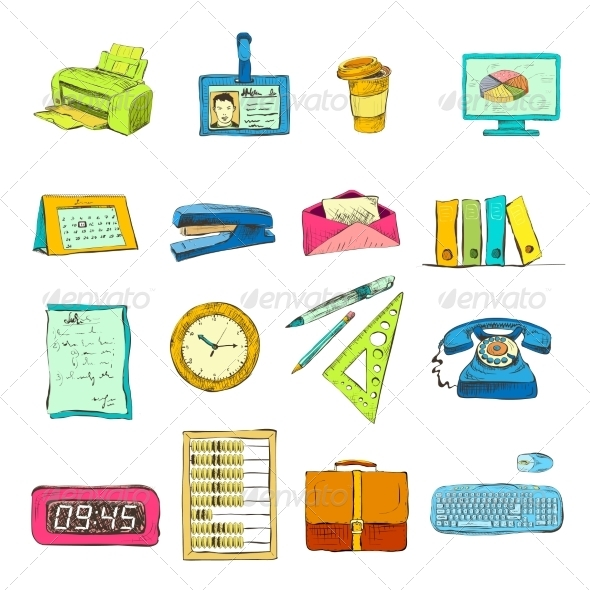 GraphicRiver Business Office Stationery Supplies Icons Set 7103374