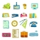 Business Office Stationery Supplies Icons Set - GraphicRiver Item for Sale