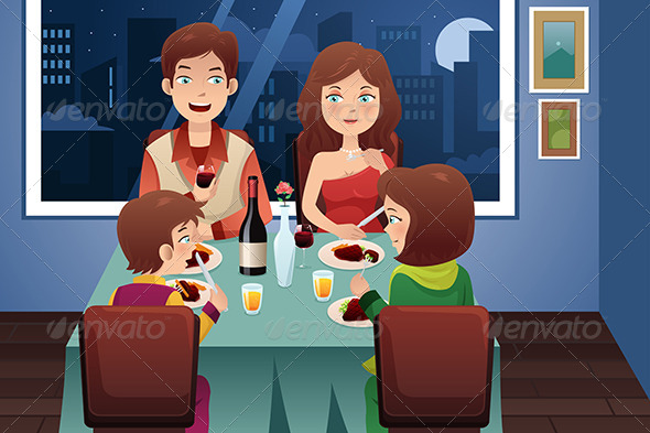 GraphicRiver Family having Dinner in a Modern House 7104114