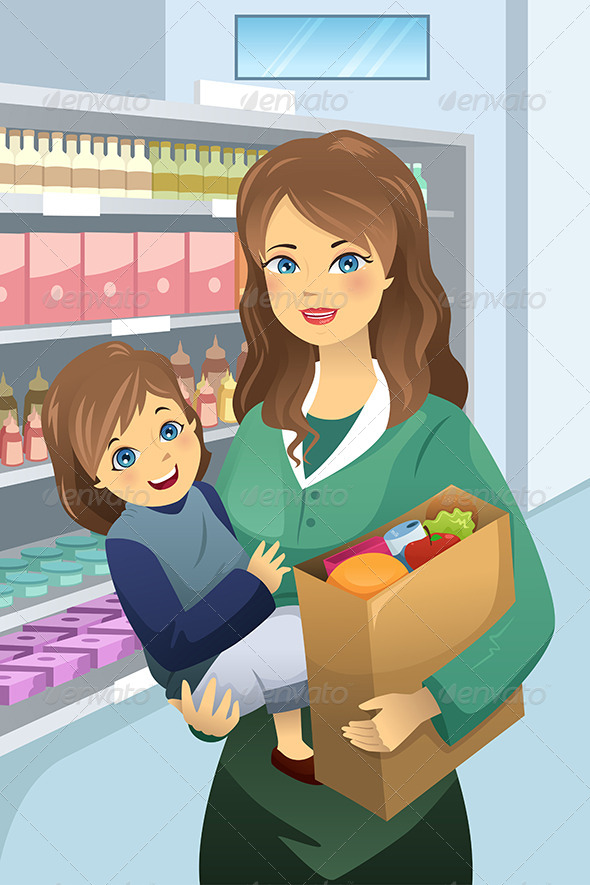 GraphicRiver Mother Carrying Child and Groceries 7104155